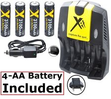 4AA Battery + Home & Car Charger for Fujifilm FinePix S700 S-700