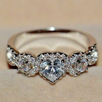 14k White Gold Finish 1.50Ct Heart & Round Cut Diamond Engagement Wedding Ring