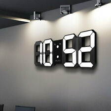 Digoo LED 3D Wall Alarm Clock USB Digital White Snooze 12/24 Hour Display-USA