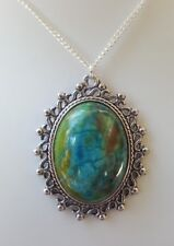 VINTAGE STYLE AGATE CABOCHON NECKLACE ROCKABILLY PINUP SWING DOWNTOWN ABBEY BOHO