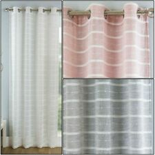ANTIGUA Striped Textured Voile Net Curtain Eyelet Ring Top Single Panel