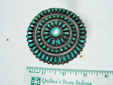 """vintage Navajo Dead Pawn Sterling Silver natural Turquoise Cluster Pin.3"""""""