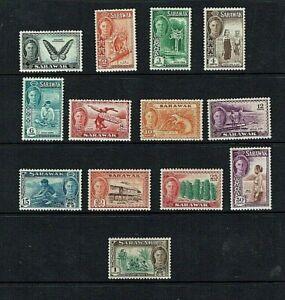Sarawak: 1950, King George VI definitive, short set to $1, MLH