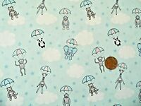 PARACHUTING BABY ANIMALS ON BLUE BY LEWIS & IRENE - COTTON FABRIC FQ'S