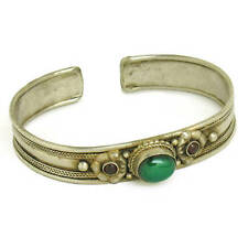 Tibetan Green Jade Garnet Turquoise Coral 3 Gemstone Sacred Dorje Cuff Bracelet