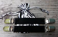 Black Elastic Pant Clips Boot Straps Stirrups w/ b/w Pouch Keep Pants in Boots!