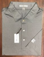 Peter Millar Grey White Striped Thunder Evergreen Logo Cotton Golf Polo Size L