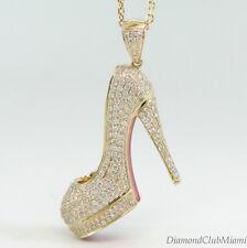 Modern 2.31ct Diamond Red Bottom Stiletto Heel 14kt Gold Shoe 9.4 Grams