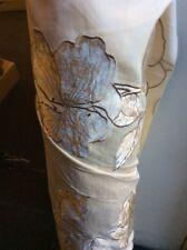 CREAM GOLD FAUX SILK CURTAIN FABRIC Velvet 7.70m Olivia Floral Cushions