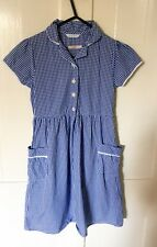 M&S GIrls Very Good Condition Blue Gingham Dress, Pockets Age 8-9 Years