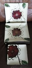 """Set Of 4 Parker and Jane DINNER Plates ~ 11"""" Square + One 7 3/4 in Salad Plate"""