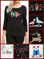 Karen Scott Women Plus Embellished Christmas Holiday Shirt / Top Bear Reindeer