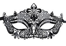 Luxury Black Beautiful Metal Laser Cut Venetian Halloween Ball Masquerade Mask