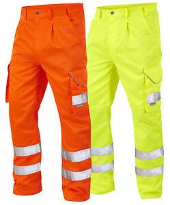 Leo Bideford HiVis Poly/Cotton Heavy Duty Workwear Trousers