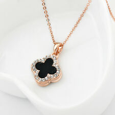 New 18K Rose Gold GF Crystal Clover 13mm Four Leaf Lucky Flower Pendant Necklace