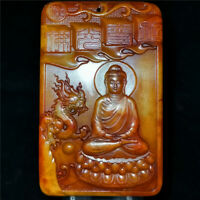 Chinese hard hetian jade Jadeite hand-carved collectibles pendant Buddha dragon