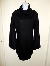 """""""CASHMERE"""" 72%WOOL BLEND BLACK COWL NECK LONG SLEEVES DRESS TUNIC SWEATER M"""