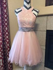 Blush Pink Short Cocktail Party Evening Bridesmaid Prom Homecoming Dress Gown