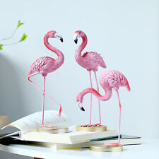 Resin Flamingo Figurine Miniature Sculpture Glass Base Stand Table Ornament S+L