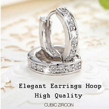 Charm 18k White Gold Filled CZ Clear Sapphire Stud Earrings Hoop Jewelry Gift