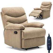 Poltrona Massaggiante Reclinabile Manuale Relax Microfibra Beige 99x86x99cm