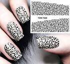 Nail Art Stickers Water Decals Transfers Black & White Leopard Gel Polish