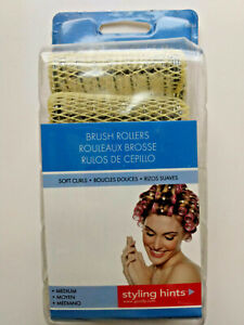 12-NEW GOODY Ball-Tip BRUSH Hair Rollers Curlers w/Pins Medium