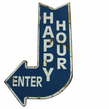 HAPPY HOUR ENTER Curved Arrow Vintage Metal Sign Man Cave/Bar Wall Decor