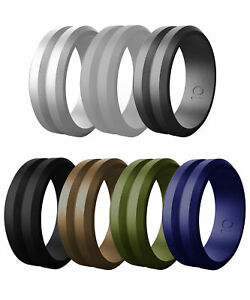 7PCS Men's Silicone Engagement Wedding Band Ring outdoor Sports Rubber Size 8-14