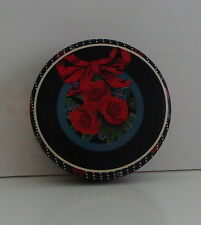 Vintage Robel Ball Christmas Tin Black with Red Roses and Lace
