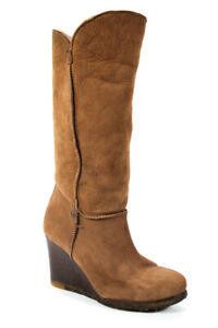UGG Australia Womens Suede Knee High Wedges Boots camel shearling lamb Size 7