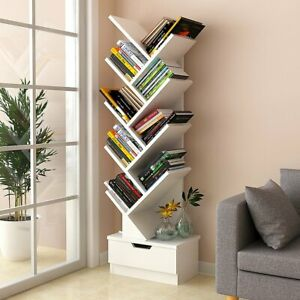 Tree Bookshelf Bookcase Book Organizer 9-Tier Multipurpose Shelf Display Racks