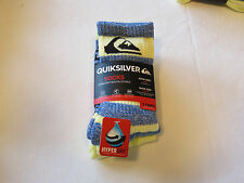 Quiksilver Boys 3 Pair Crew Socks Size 6-8 shoe size 10.5-4 06321T blue yellow