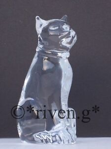 CAT Figurine@PREMIUM CRYSTAL Glass PUSSY CAT@Collectable Gift@SITTING UPRIGHT