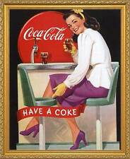 Coca-Cola: Have a Coke. Framed Vintage 50s Pin-Up Style AD Poster. Gold Frame