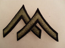 PAIR WWII OD EMBROIDERED ON BLACK FELT PFC CHEVRONS