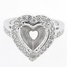 14K Semi Mount Diamond Ring Setting 0.71 CTS - Heart Cut  Diamond Mounting