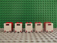 5 Lego Brand New Box Storage Container Cupboard Mini Figure Accessory Red White