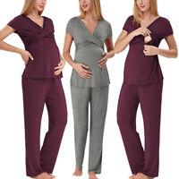 Women Maternity Nursing Solid Short Sleeve Tee Shirt Tops+Long Pants Pajama Set