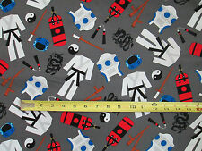 KARATE MARTIAL ARTS GRAY COTTON FABRIC FQ