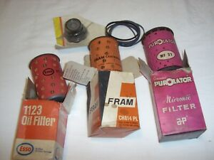 BMC B SERIES THREE OILFILTERS NEW OLD STOCK - RARE PUROLATOR, & OIL FILLER CAP