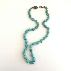Vintage Chinese Turquoise Necklace Silver Filigree Clasp Green Blue Gift Jewelry