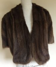 Vintage Muskrat Fur Cape Stole Wrap Shawl Brown Beckmann Furs Fresno, Ca