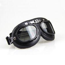 Helmet Steampunk Chrome Motorcycle Flying Goggles Vintage Pilot Biker Black Lens