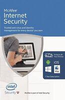 McAfee Internet Security NEW 2017 1 USER Multi device inc Antivirus UK Iphone