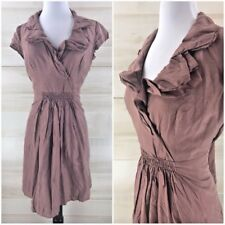 Ann Taylor Loft 100% silk brown gathered ruffled classic chic dress 4 S