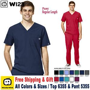 WonderWink Scrubs Set W123 Men's V-Neck Top & Flat Front Pant 6355/5355 Regular