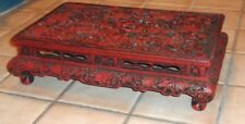 NICE Chinese Red Black Lacquer Floral Pattern Low Table  c. 1900 Asian Antique