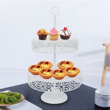 2Tier Metal Cake Cupcake Stand Tray Crystal Dessert Display Tower Plate White us