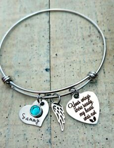 Personalized Name child loss Memorial Angel Wing bangle Bracelet mothers gift